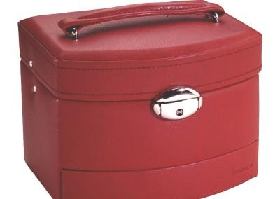 Bijouterie Azurite Bergerac. Petit coffre à bijoux, rouge,  16 x 13 cm