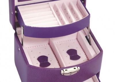 Bijouterie Azurite Bergerac. Petit coffre à bijoux, violet,  16 x 13 cm
