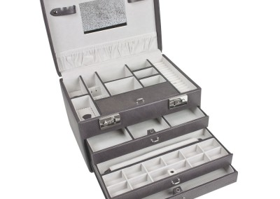 Bijouterie Azurite Bergerac. Grand coffre à bijoux luxe, gris violine, 30 x 20 cm