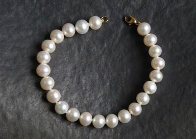 Azurite bijouterie, Bergerac. Bracelet en perles de culture et or