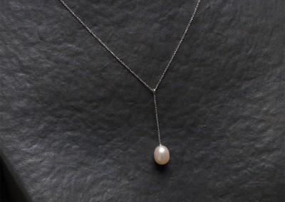 Azurite bijouterie, Bergerac_Pendentif en perle de culture et or blanc