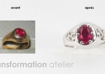 Bijouterie Azurite Bergerac, Dordogne. Atelier de bijouterie. Transformation bague