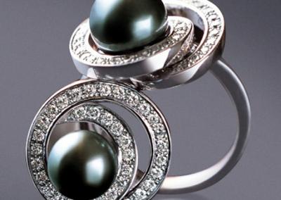 Bijouterie Azurite Bergerac_Bague perles de Tahiti, diamants et or blanc