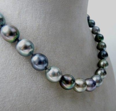 Collier Perles De Tahiti Fermoir Or Blanc Azurite Bijouterie A