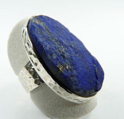 Bague lapis lazuli brut et argent